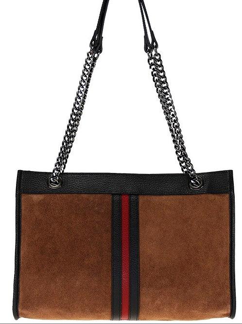 Stripe Suede Bag - Leather Bag