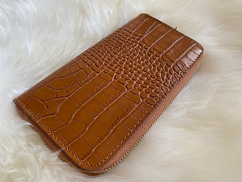 Camel Croco Genuine Leather Wallet