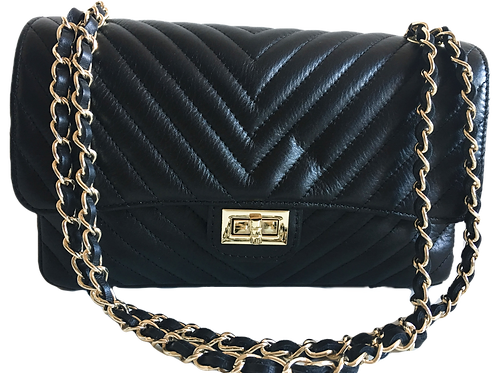 Chanel Inspired Black Leather Bag