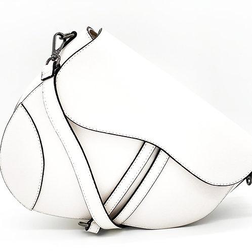 White Assymetric Leather Bag -Big Size