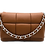 Front with strap of Puff Camel Leather Bag