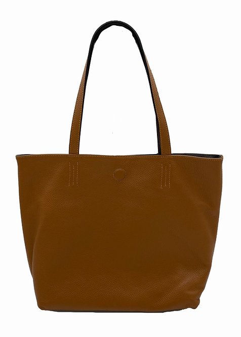 Reversible Camel and Brown Leather Bag