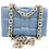 Front of bottega inspiration bag in blue color with chain