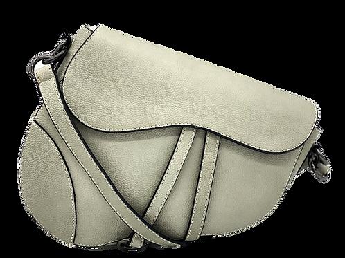 Gray Assymetric Leather Bag -Big Size