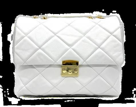 Front of Serena White Leather shoulder bag