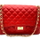 Classic genuine leather bag in red color