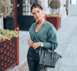 Beatriz wearing mini phantom inspired bag