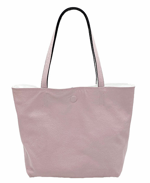 Reversible White and Lilac Leather Bag