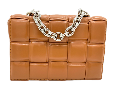 Front of Braid Chain Leather Bag