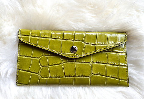 front of croco green leather card holder