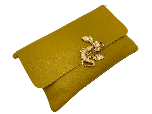 Yellow Genuine Leather Clutch