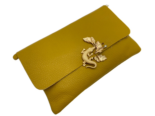 Yellow Genuine Leather Clutch