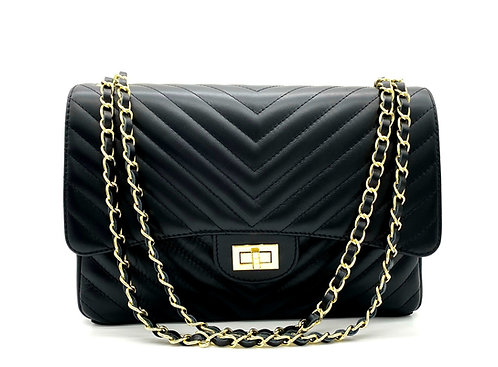 Classy Stripes XL Leather Bag - Gold Hardware