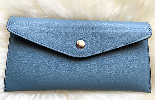 front of leather blue card holder