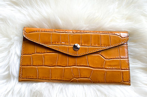Leather Wallet and card holder- Croco Camel