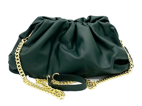 Dark Green Pouch Soft  Leather Bag