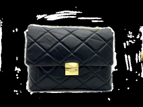 Front of black shoulder leather bag