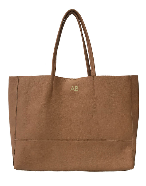 Personalized Front of Camel shopper leather bag