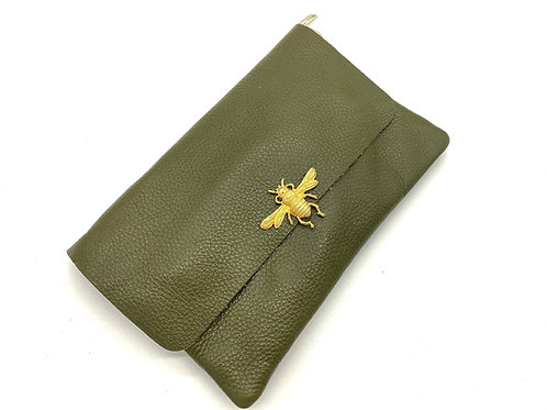 Green Genuine Leather Clutch