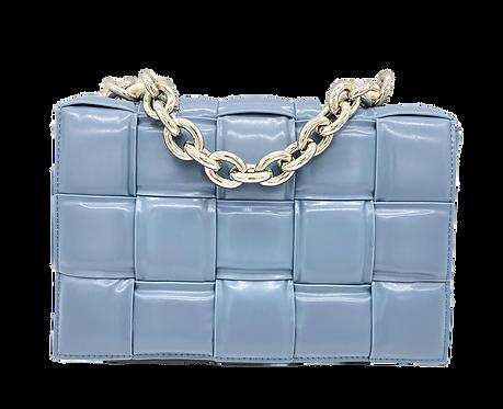Front of bottega inspiration bag in blue color
