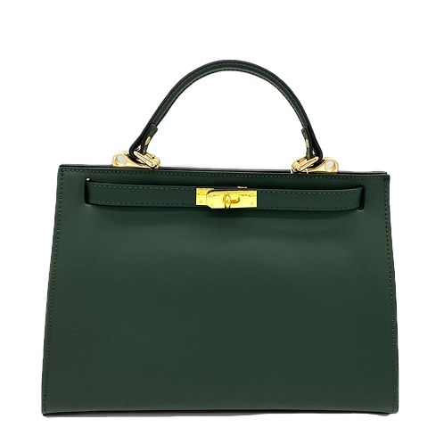 Front of green kelly inspired bag in genuine leather
