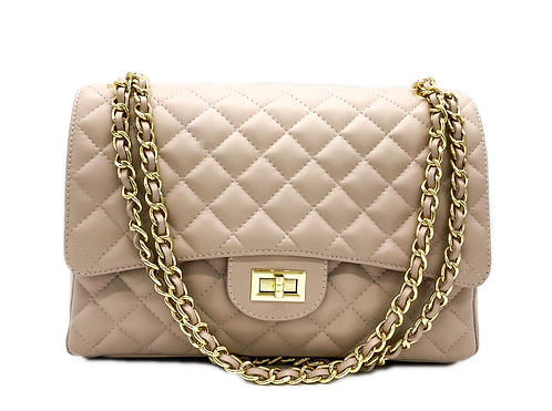Nude Classic Leather Shoulder Bag Front with straps