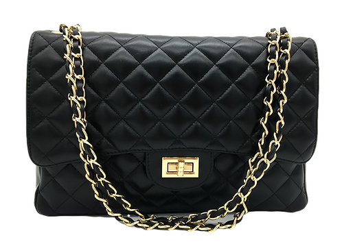 Classy XL Leather Bag - Gold Hardware