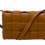 Front of Braid camel leather bag with strap