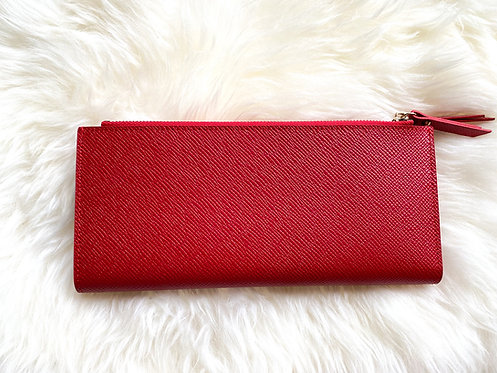 Saffiano Leather Card Holder - Red