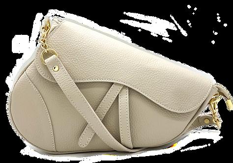 Assymetric Beige Leather Bag - Medium Size