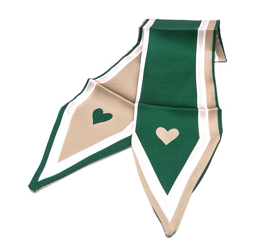 Heart Green and Taupe Scarf