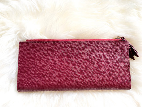 Saffiano Leather Card Holder - Bordeaux