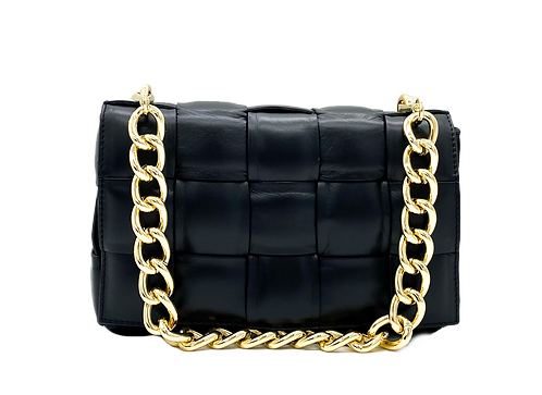 Front of Braid Black Shoulder leather bag with gold chain