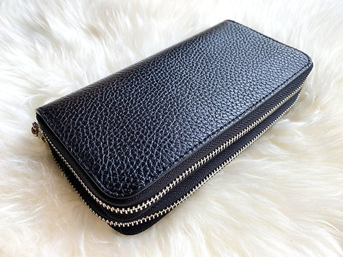 Double Leather Wallet - Black