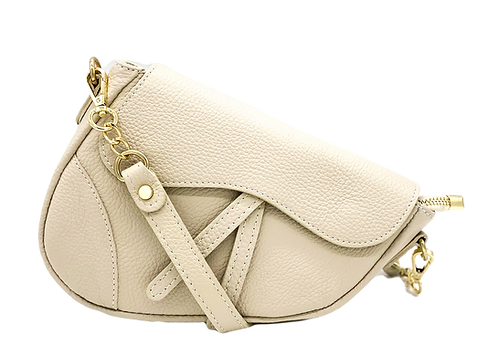 Beige Assymetric Bag front srap