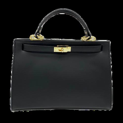 Kelly inspired black bag in genuine leather