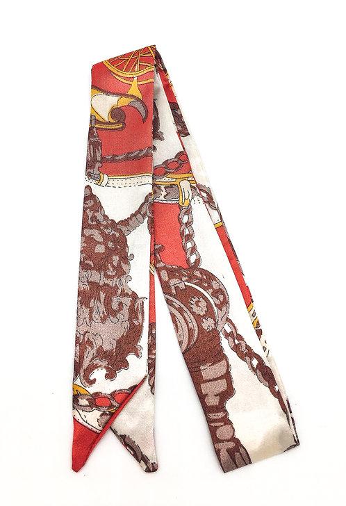 Lenço de seda tons vermelho