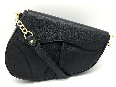 black assymetric bag designer inspired
