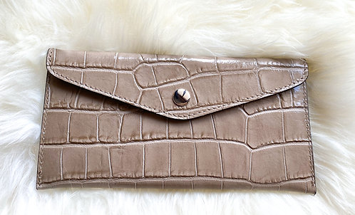 Leather Wallet and card holder- Croco Beige