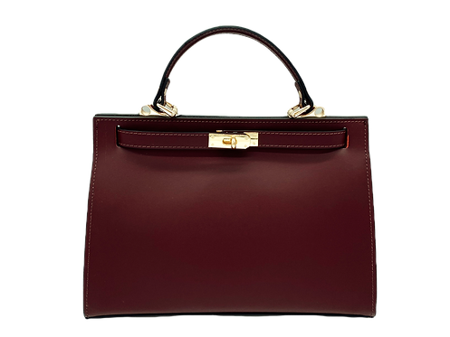 Front of Kelly inspired bag in bordeaux color