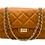 Front with straps of camel classy leather bag