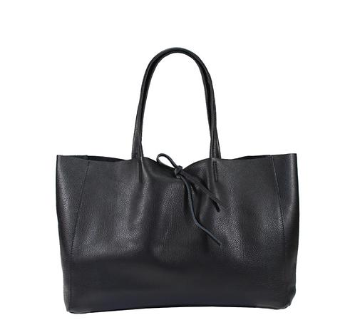 Front of Black shopper leather bag
