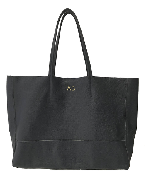 Personalized Front of black shopper leather bag