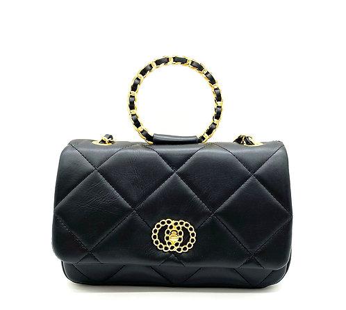 Front Diana black leather bag