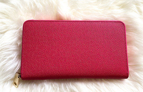 Saffiano Leather Wallet - Red