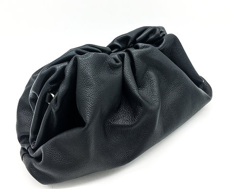 black leather pouch bag
