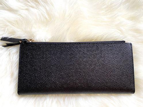 Saffiano Leather Card Holder - Black