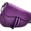 Assymetric purple leather bag front