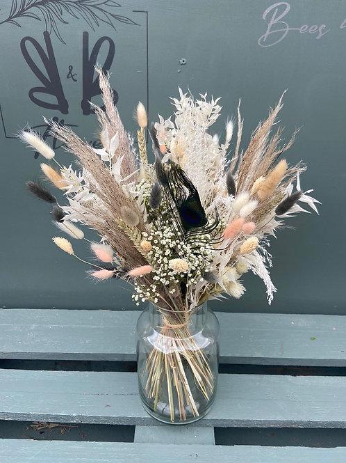 Dried Neutrals with grey & blush in Vase