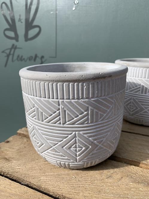 Grey Pattern Ceramic Pot